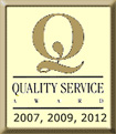 quality service award for 2007, 2009, 2012 logo
